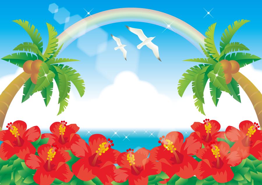 フリーイラスト ハイビスカスとヤシと虹の南の島の風景