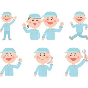 フリーイラスト, ベクター画像, AI, 人物, 男性, 女性, 仕事, 職業, 作業着, 作業員, 整備士, ガッツポーズ, 手を上げる, 走る, 通話, 固定電話, レンチ