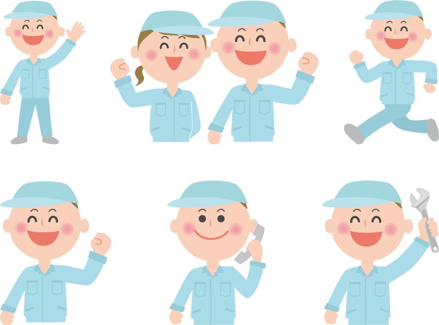 フリーイラスト 6種類の作業員のセット