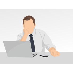 フリーイラスト, ベクター画像, EPS, 人物, 男性, ビジネス, 仕事, 職業, ビジネスマン, パソコン(PC), ノートパソコン, デスクワーク, 考える, 悩む