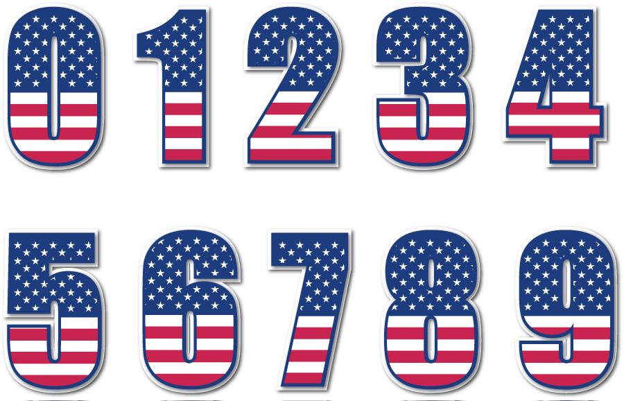 フリーイラスト 0から9までの星条旗の数字