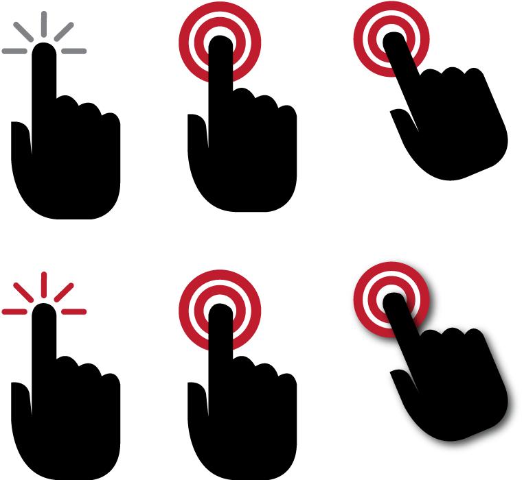フリーイラスト 6種類のタッチ操作する手のセット