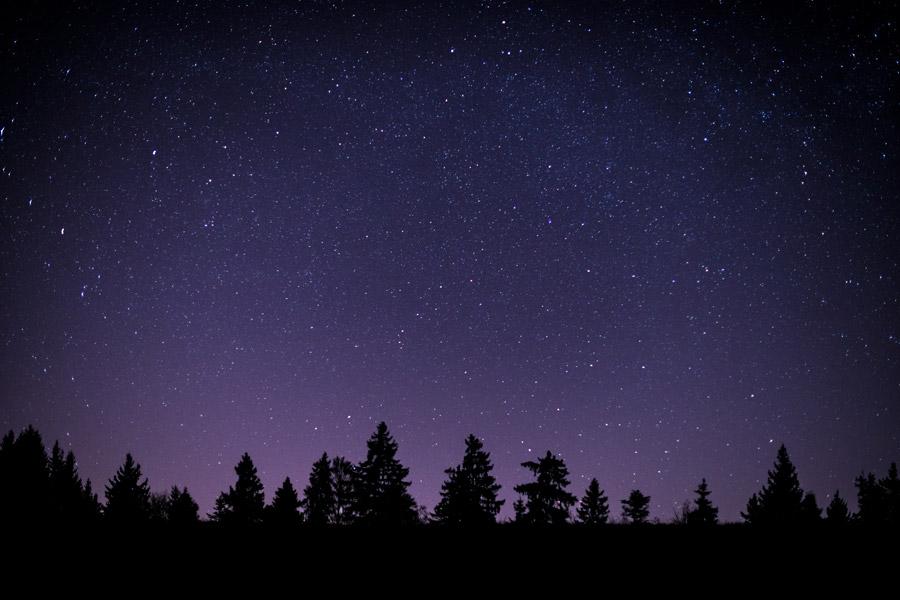 フリー写真 夜空で輝く星の風景