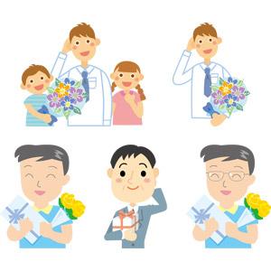 フリーイラスト, ベクター画像, AI, 年中行事, 6月, 父の日, 人物, 父親(お父さん), 親子, 息子, 娘, 照れる, プレゼント, 花束, 薔薇(バラ), 頭に手を当てる
