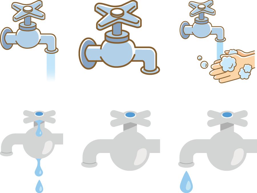 フリーイラスト 6種類の水道の蛇口のセット