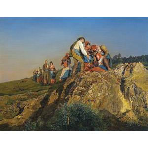フリー絵画, フェルディナント・ゲーオルク・ヴァルトミュラー, 風俗画, 宗教画, 巡礼, 疲れる, 休憩, 集団(グループ)