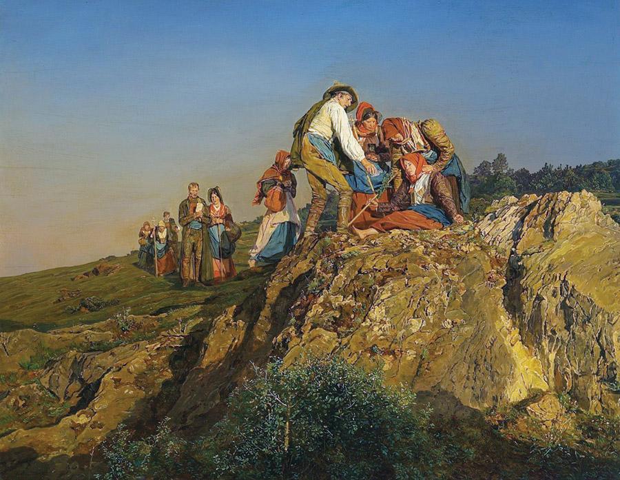 フリー絵画 フェルディナント・ゲーオルク・ヴァルトミュラー作「巡礼の中断」