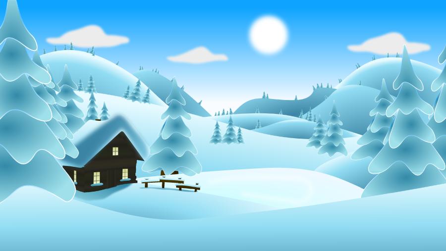 フリーイラスト 小屋と雪に覆われた冬の風景