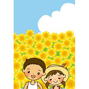 フリーイラスト, ベクター画像, EPS, 人物, 子供, 男の子, 女の子, 兄妹(姉弟), 夏, 夏休み, 花, 向日葵(ヒマワリ), 花畑, 黄色の花, タンクトップ, 麦わら帽子