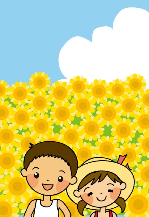 フリーイラスト ひまわり畑と夏休みの子供たち