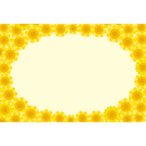フリーイラスト, ベクター画像, EPS, 背景, フレーム, 円形フレーム, 植物, 花, 向日葵(ヒマワリ), 黄色の花, 夏