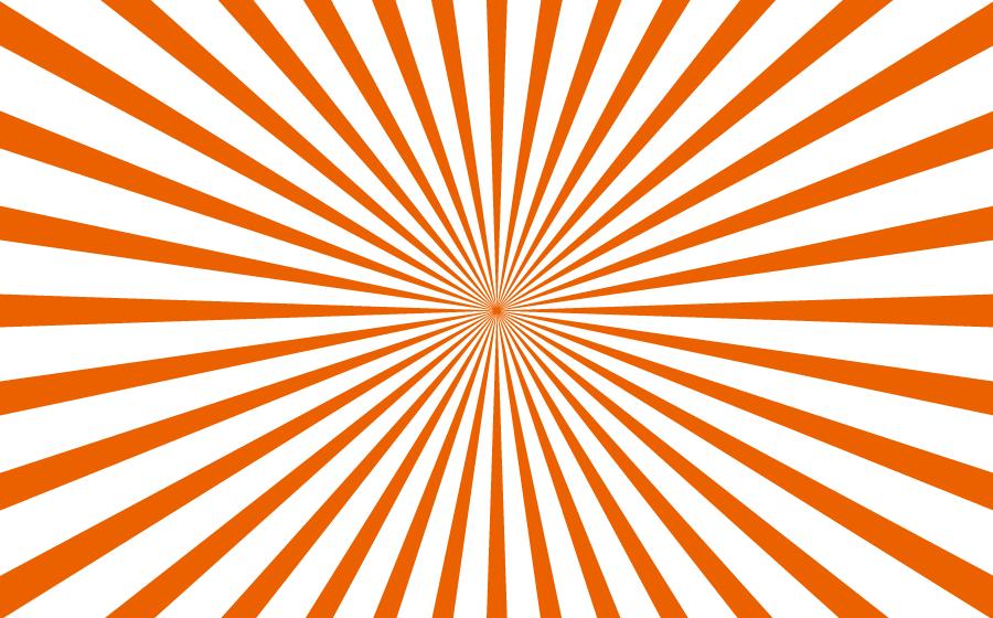フリーイラスト オレンジ色の放射線状の背景