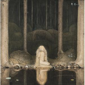 フリー絵画, ヨン・バウエル, 物語画, 妖精(フェアリー), 森林, 湖