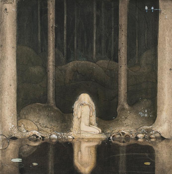 フリー絵画 ヨン・バウエル作「森の暗い沼を見つめる妖精姫」