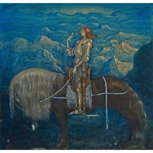 フリー絵画, ヨン・バウエル, 物語画, 騎士(ナイト), 鎧(アーマー), 人と動物, 乗馬, 馬(ウマ), 小鳥, 山
