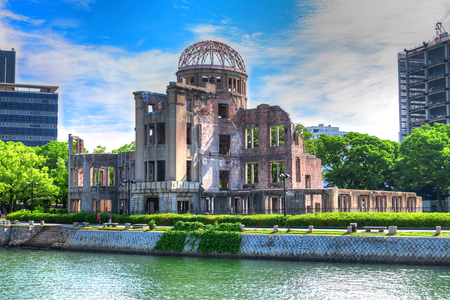 フリー写真 元安川と原爆ドーム
