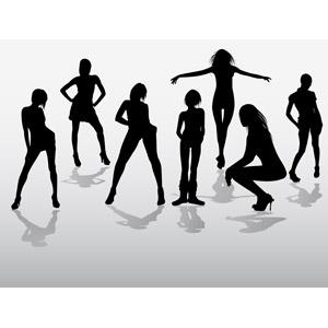 フリーイラスト, ベクター画像, EPS, 人物, 女性, 集団(グループ), シルエット(人物), 手を広げる, しゃがむ, 腰に手を当てる