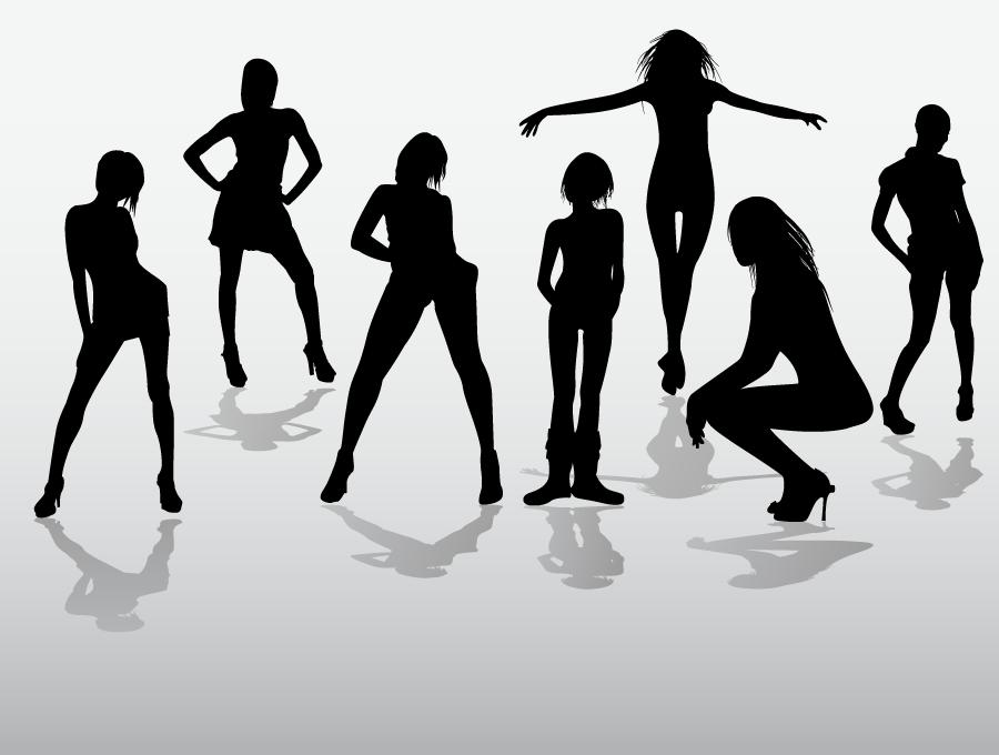 フリーイラスト 7人の女性のシルエット