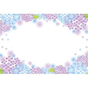 フリーイラスト, ベクター画像, EPS, 背景, フレーム, 円形フレーム, 植物, 花, 紫陽花(アジサイ), 梅雨, 6月