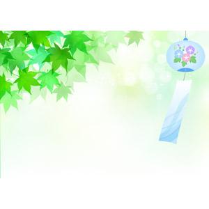 フリーイラスト, ベクター画像, AI, 背景, 夏, 植物, 葉っぱ, もみじ(カエデ), 青もみじ, 風鈴