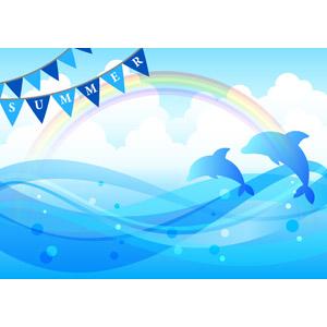 フリーイラスト, ベクター画像, AI, 背景, 夏, 海, 虹, フラッグガーランド, イルカ, ジャンプ(動物), 積乱雲(入道雲)