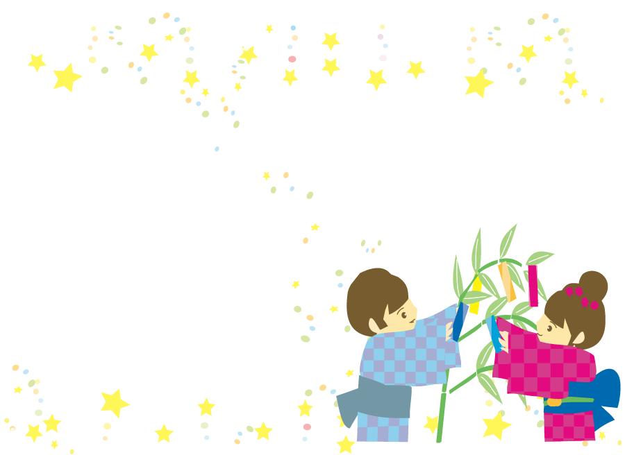 フリーイラスト 笹を飾り付ける子供と星のフレーム