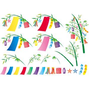 フリーイラスト, ベクター画像, AI, 年中行事, 七夕, 7月, 笹飾り, 短冊, 吹き流し, 竹(タケ), ひし形つなぎ