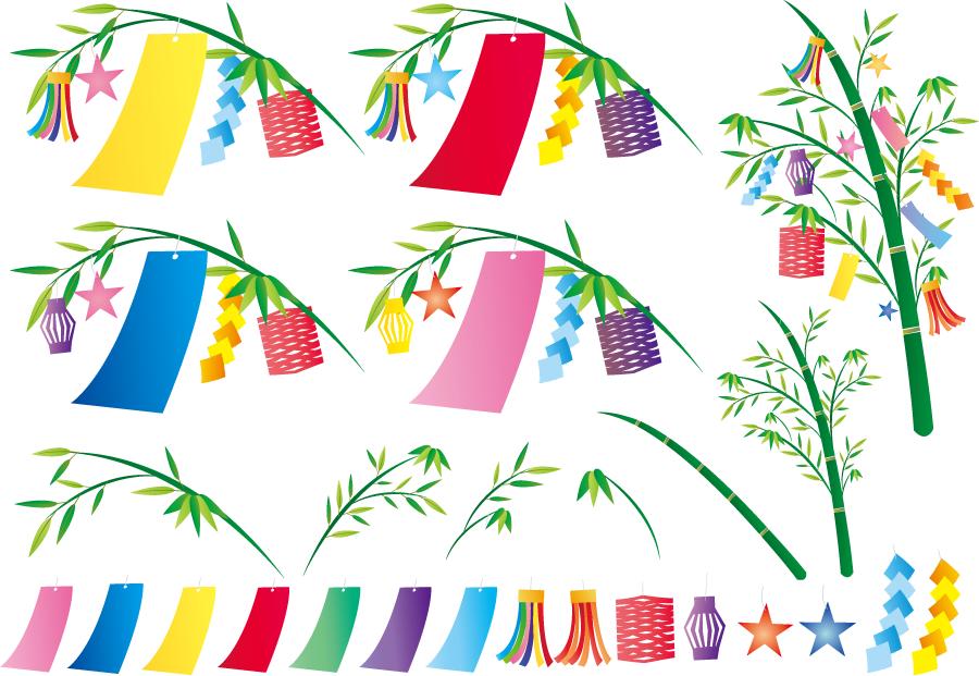 フリーイラスト 笹飾りのセット