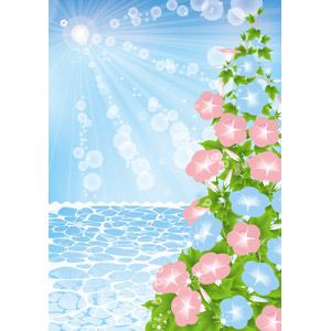 フリーイラスト, ベクター画像, AI, 背景, 海, 太陽光(日光), 植物, 花, 朝顔(アサガオ), 夏