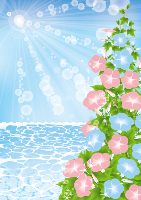 フリーイラスト アサガオの花と海と夏の日差し