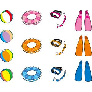 フリーイラスト, ベクター画像, AI, 海水浴, 夏, 浮き輪, ビーチボール, シュノーケル, 水中眼鏡, 足ひれ(フィン), レジャー, アウトドア