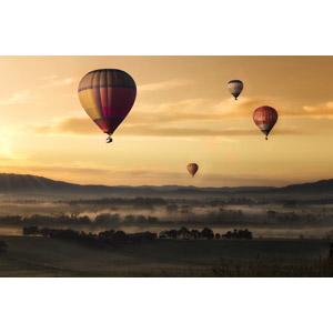 フリー写真, 風景, 乗り物, 熱気球, 朝, 朝焼け, 霧(霞)