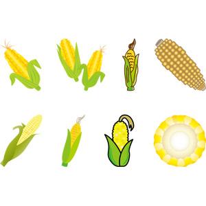 フリーイラスト, ベクター画像, AI, 食べ物(食料), 穀物, とうもろこし(トウモロコシ), 夏