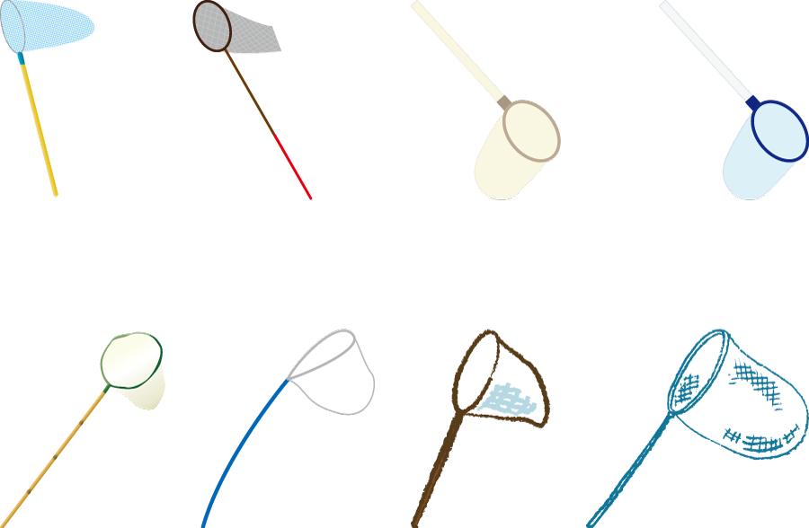 フリーイラスト 8種類の虫取り網のセット