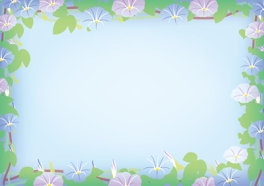 フリーイラスト アサガオの花の飾り枠