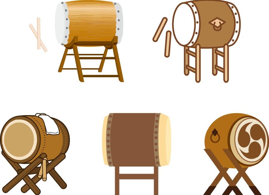 フリーイラスト 5種類の和太鼓のセット