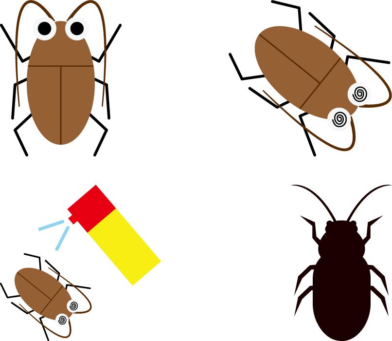 フリーイラスト 4種類のゴキブリのセット