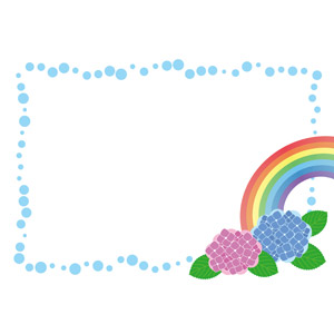 フリーイラスト, ベクター画像, EPS, 背景, フレーム, 囲みフレーム, 虹, 紫陽花(アジサイ), 梅雨, 6月, 水玉模様(ドット柄)