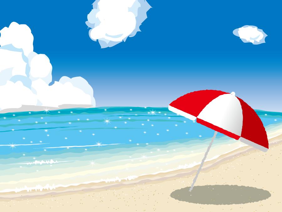 フリーイラスト ビーチパラソルと夏の海の風景