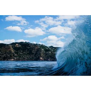 フリー写真, 風景, 海, 波, 崖, 青空, 雲, ニュージーランドの風景