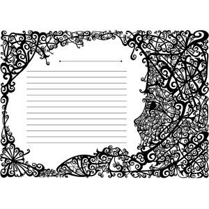 フリーイラスト, ベクター画像, AI, 背景, 便箋(便せん), 唐草模様