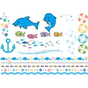 フリーイラスト, ベクター画像, AI, 飾り罫線(ライン), 浮き輪, イルカ, 魚(サカナ), 縄(ロープ), 泡, 波, 夏, 群れ
