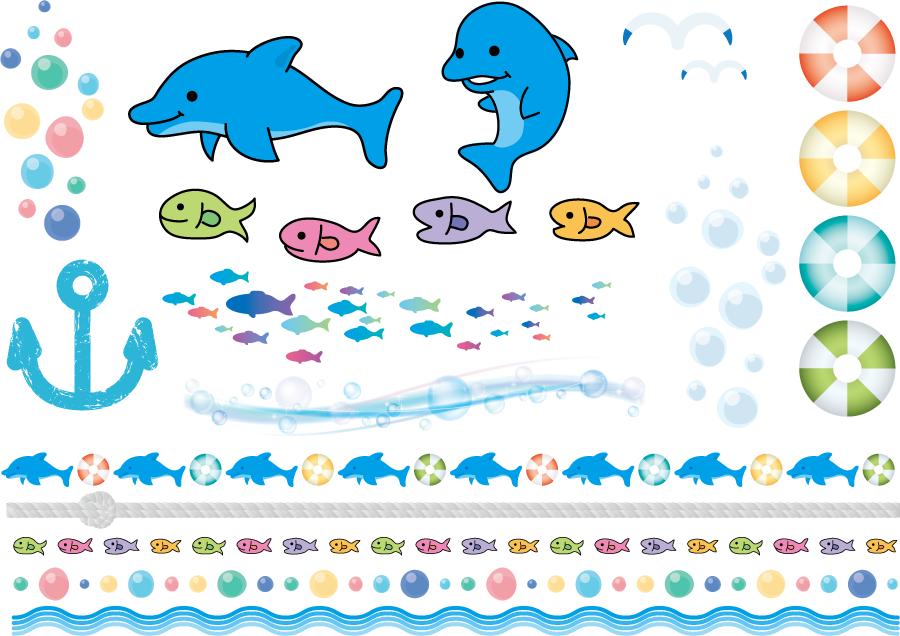 フリーイラスト 魚や海関連のセット