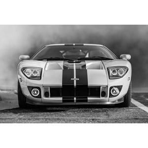フリー写真, 乗り物, 自動車, スポーツカー, クーペ, フォード, フォード・GT, モノクロ