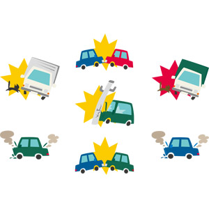 フリーイラスト, ベクター画像, AI, 災害, 事故, 交通事故, 自動車, 乗り物, 電柱(電信柱), 猫(ネコ), トラック