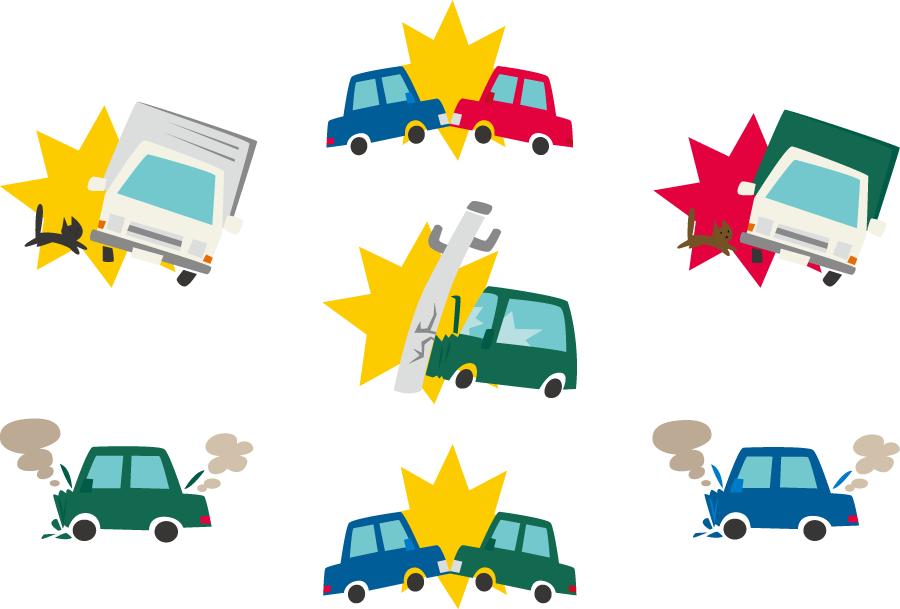 フリーイラスト 7種類の交通事故のセット