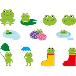 フリーイラスト, ベクター画像, AI, 動物, 両生類, 蛙(カエル), 梅雨, 6月, 長靴, 動物の顔