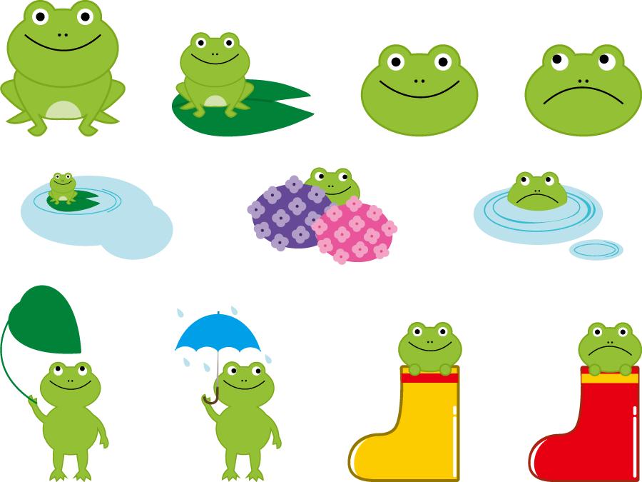 フリーイラスト 11種類のカエルのセット