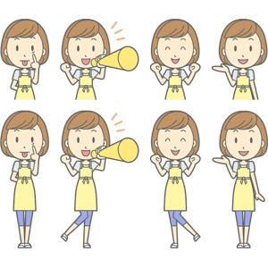 フリーイラスト, ベクター画像, AI, 人物, 女性, 女性(00193), 主婦, 母親(お母さん), エプロン, あっかんべー, 応援する, メガホン(拡声器), 案内する, 舌を出す, ワクワク