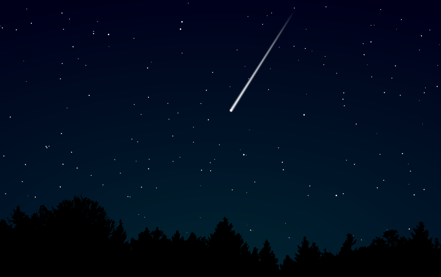 フリーイラスト 夜空と流れ星